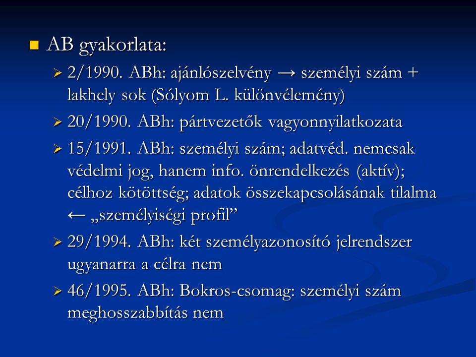 AB gyakorlata: 2/1990. ABh: ajánlószelvény → személyi szám + lakhely sok (Sólyom L. különvélemény) 20/1990. ABh: pártvezetők vagyonnyilatkozata.