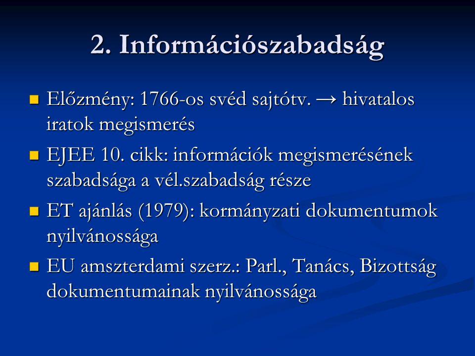 2. Információszabadság Előzmény: 1766-os svéd sajtótv. → hivatalos iratok megismerés.