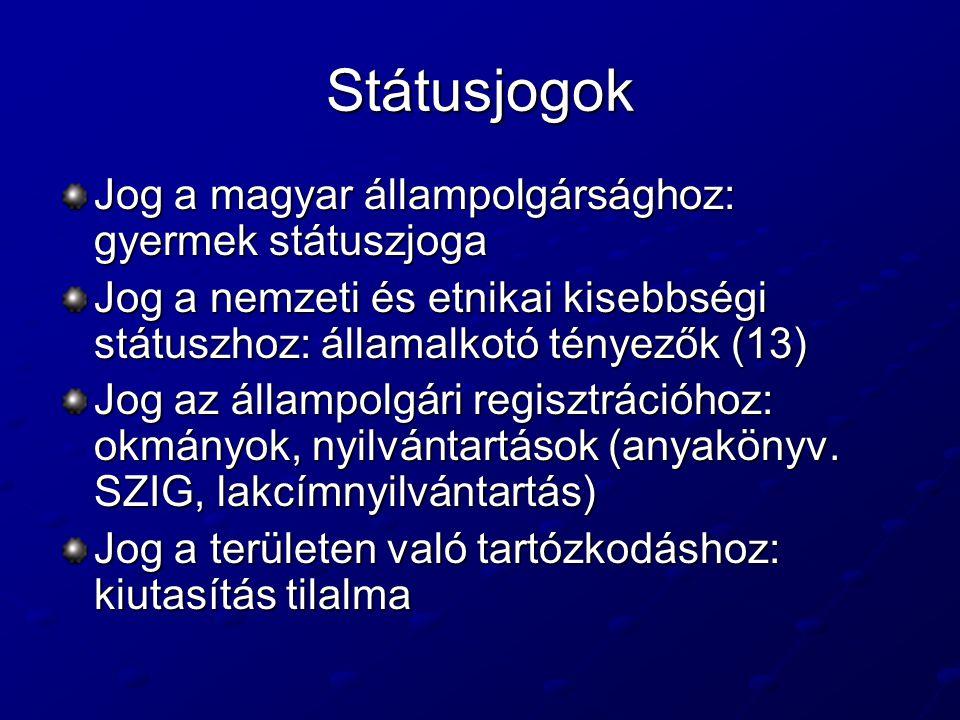 Státusjogok Jog a magyar állampolgársághoz: gyermek státuszjoga