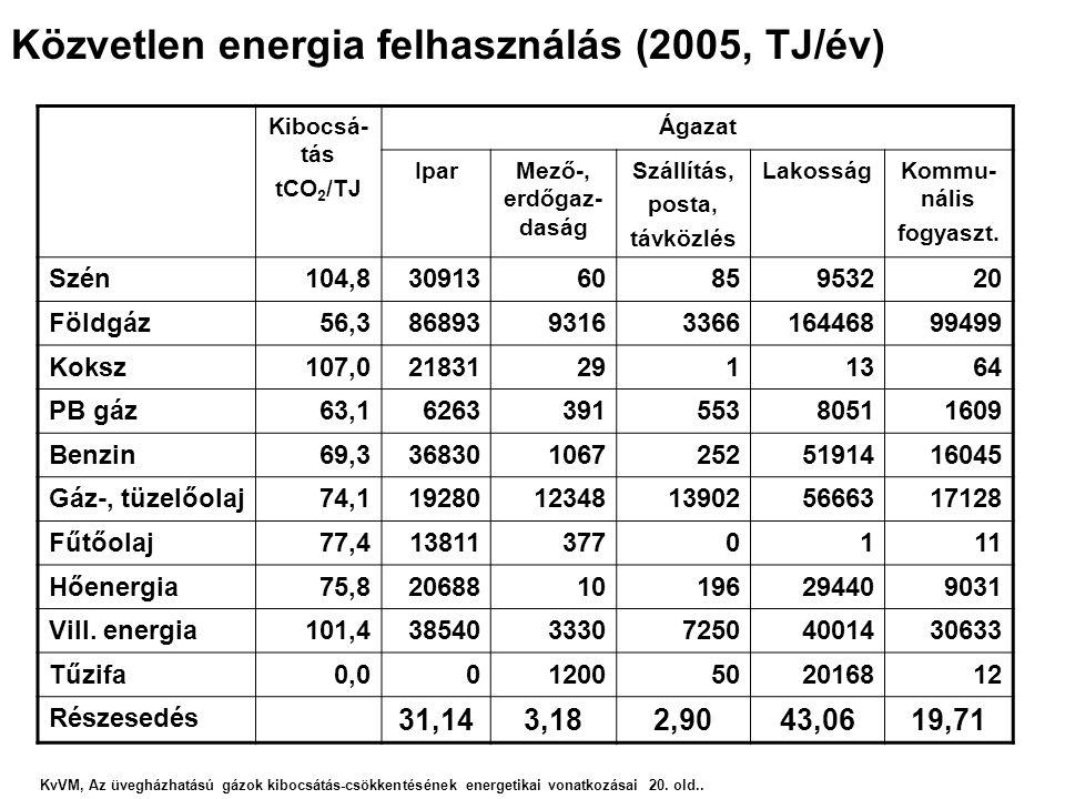 Közvetlen energia felhasználás (2005, TJ/év)