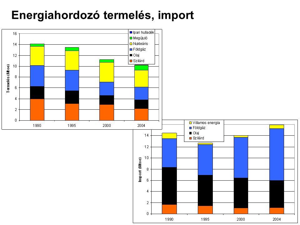Energiahordozó termelés, import