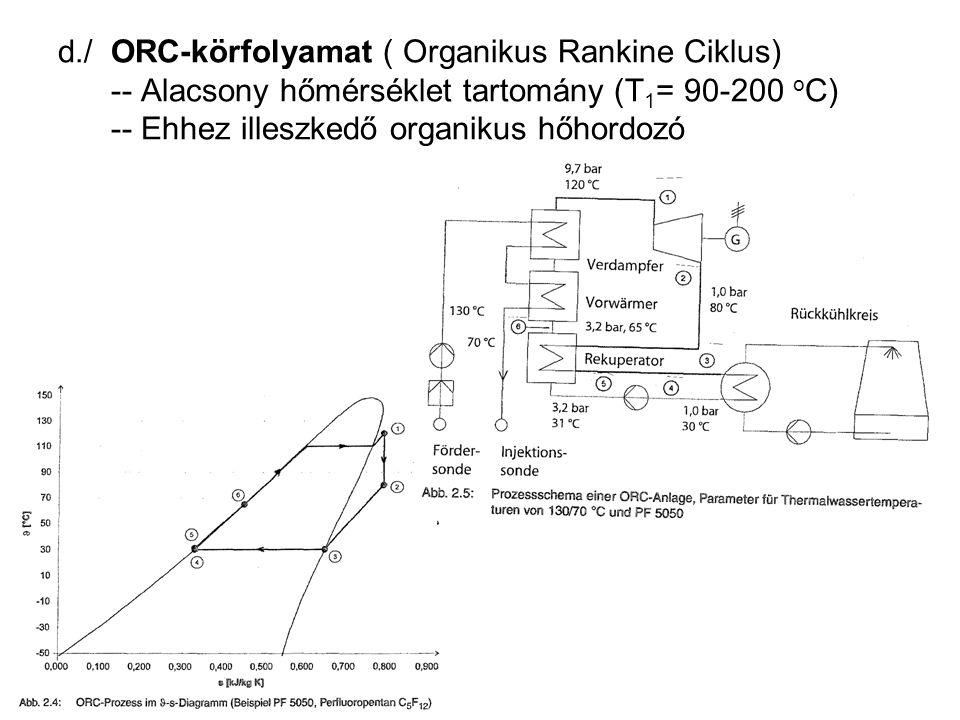 d./ ORC-körfolyamat ( Organikus Rankine Ciklus) -- Alacsony hőmérséklet tartomány (T1= 90-200 oC) -- Ehhez illeszkedő organikus hőhordozó