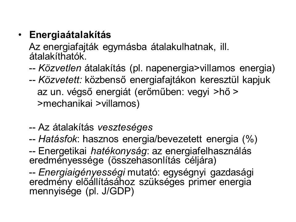 Energiaátalakítás Az energiafajták egymásba átalakulhatnak, ill. átalakíthatók. -- Közvetlen átalakítás (pl. napenergia>villamos energia)