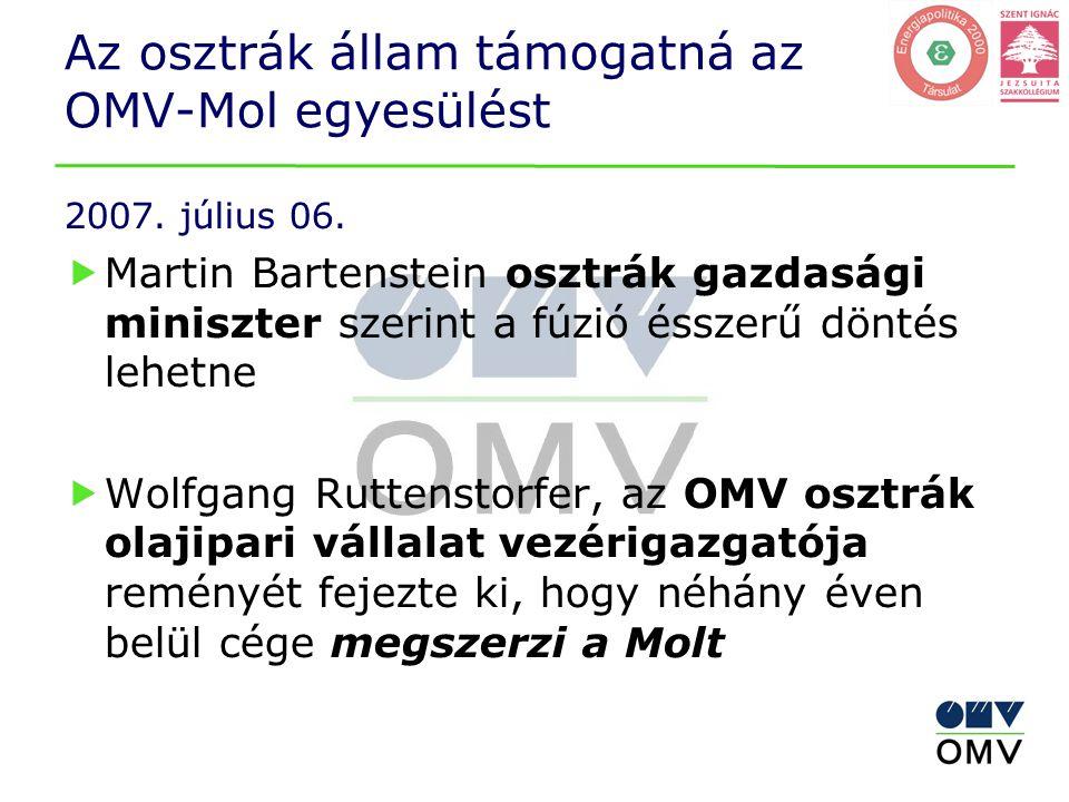 Az osztrák állam támogatná az OMV-Mol egyesülést