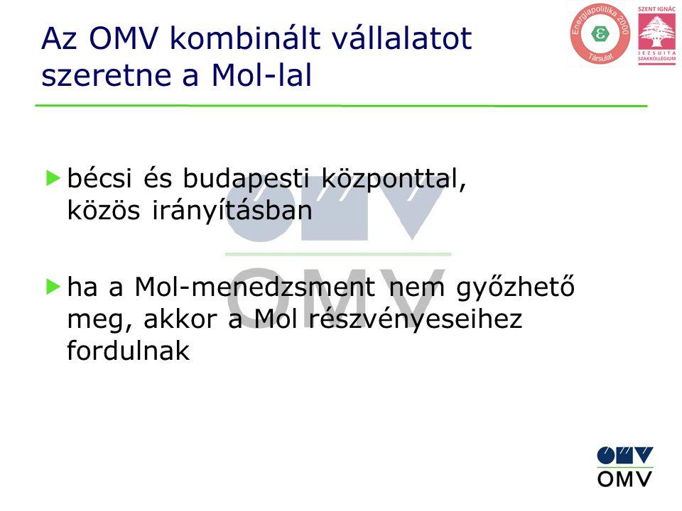 Az OMV kombinált vállalatot szeretne a Mol-lal
