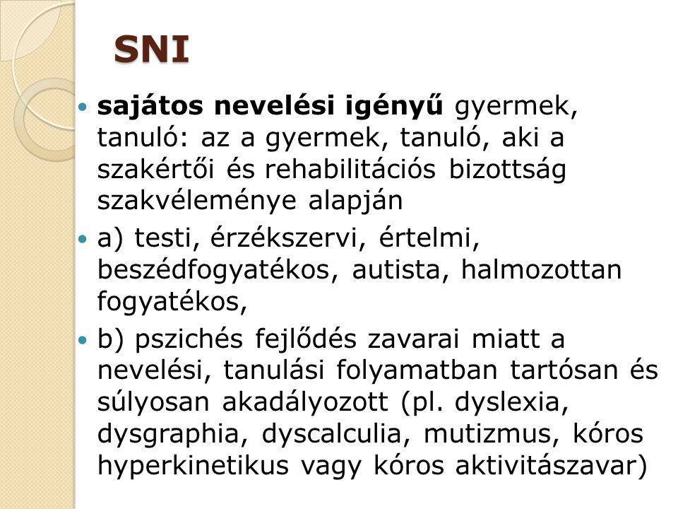SNI sajátos nevelési igényű gyermek, tanuló: az a gyermek, tanuló, aki a szakértői és rehabilitációs bizottság szakvéleménye alapján.