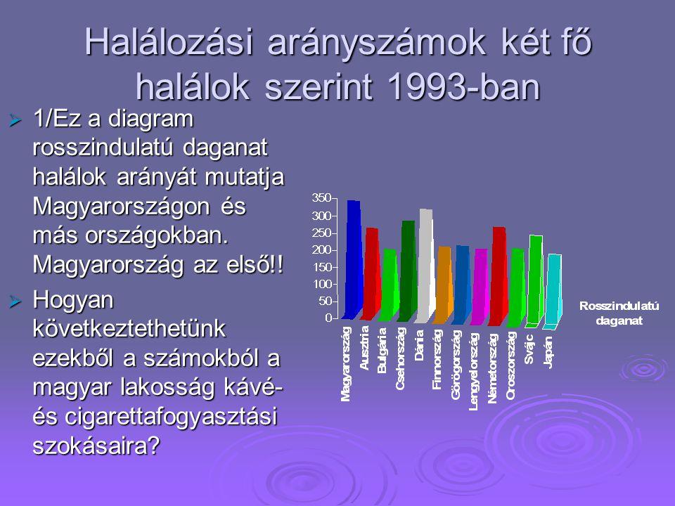 Halálozási arányszámok két fő halálok szerint 1993-ban
