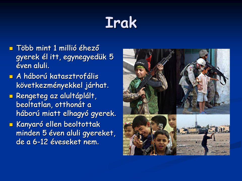 Irak Több mint 1 millió éhező gyerek él itt, egynegyedük 5 éven aluli.