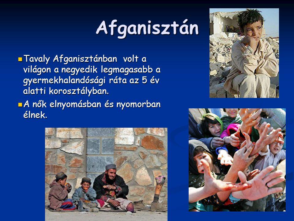 Afganisztán Tavaly Afganisztánban volt a világon a negyedik legmagasabb a gyermekhalandósági ráta az 5 év alatti korosztályban.