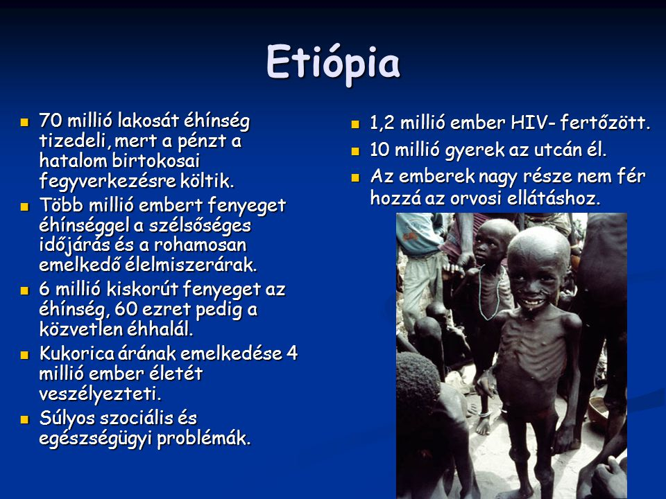 Etiópia 70 millió lakosát éhínség tizedeli, mert a pénzt a hatalom birtokosai fegyverkezésre költik.