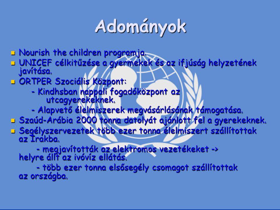Adományok Nourish the children programja.
