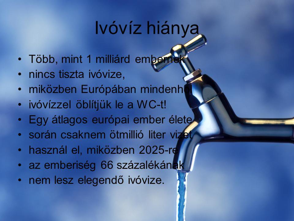 Ivóvíz hiánya Több, mint 1 milliárd embernek nincs tiszta ivóvize,