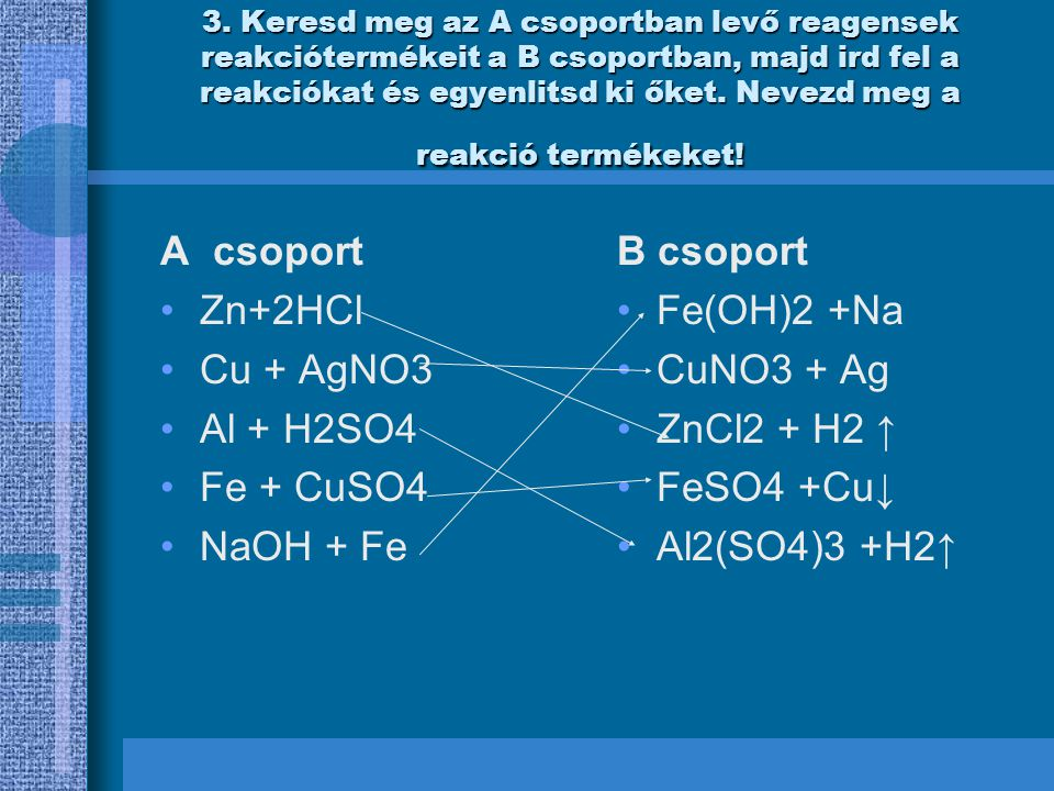 A csoport Zn+2HCl Cu + AgNO3 Al + H2SO4 Fe + CuSO4 NaOH + Fe B csoport