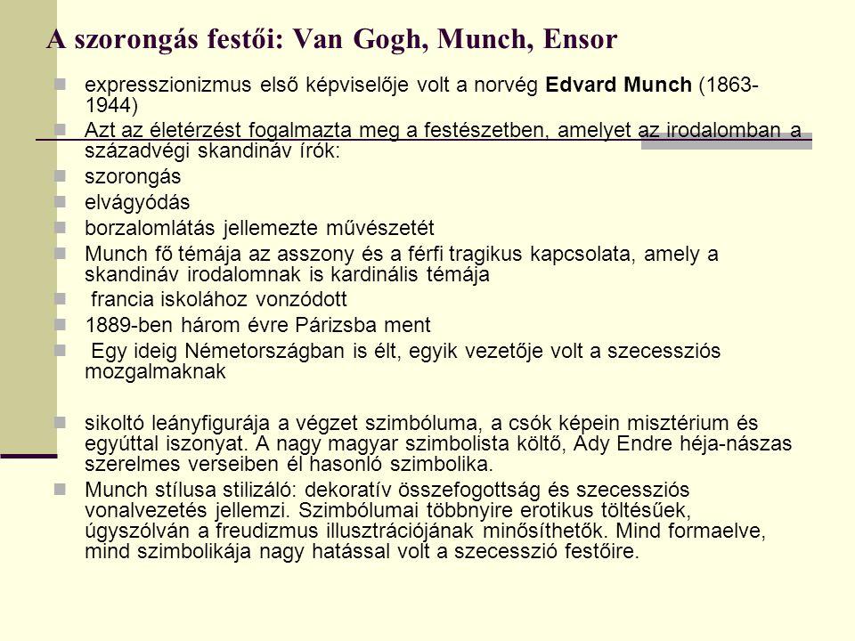 A szorongás festői: Van Gogh, Munch, Ensor