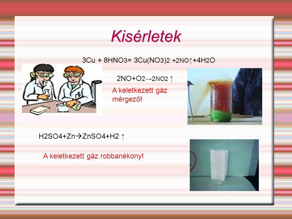 Kisérletek 3Cu + 8HNO3= 3Cu(NO3)2 +2NO↑+4H2O 2NO+O2→2NO2 ↑