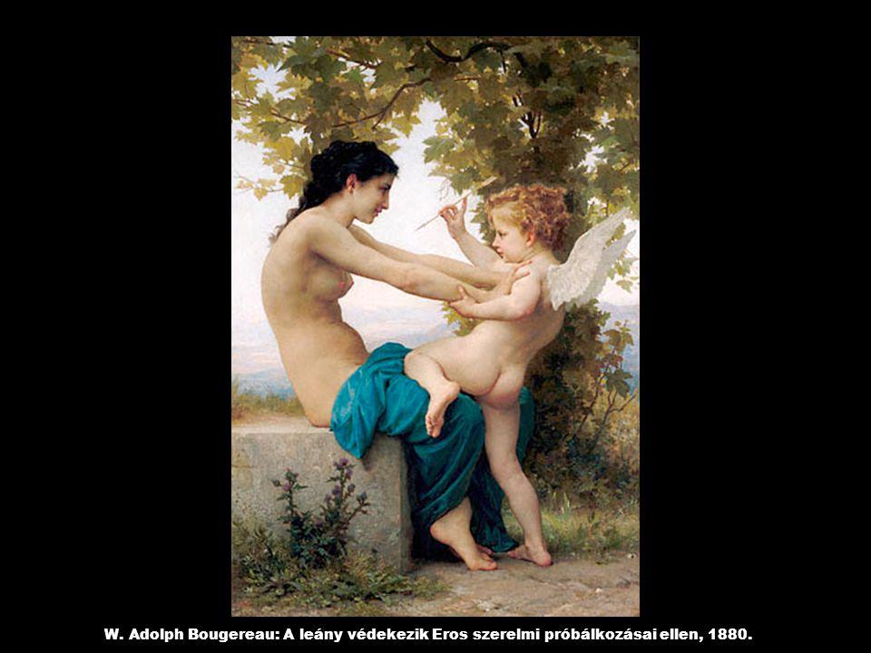 W. Adolph Bougereau: A leány védekezik Eros szerelmi próbálkozásai ellen, 1880.