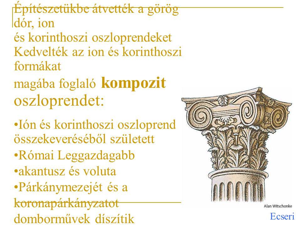 Építészetükbe átvették a görög dór, ion és korinthoszi oszloprendeket Kedvelték az ion és korinthoszi formákat magába foglaló kompozit oszloprendet: