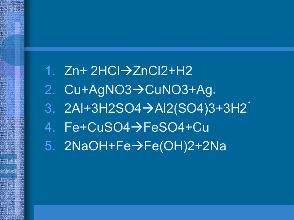 Zn+ 2HClZnCl2+H2 Cu+AgNO3CuNO3+Ag 2Al+3H2SO4Al2(SO4)3+3H2 Fe+CuSO4FeSO4+Cu 2NaOH+FeFe(OH)2+2Na