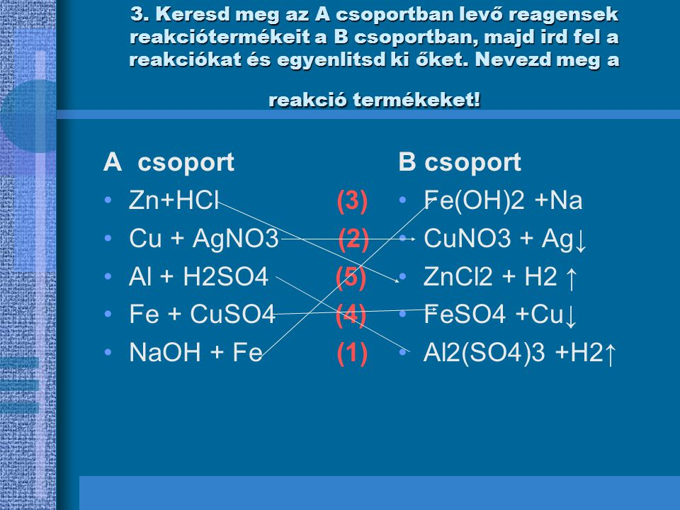 A csoport Zn+HCl (3) Cu + AgNO3 (2) Al + H2SO4 (5) Fe + CuSO4 (4)