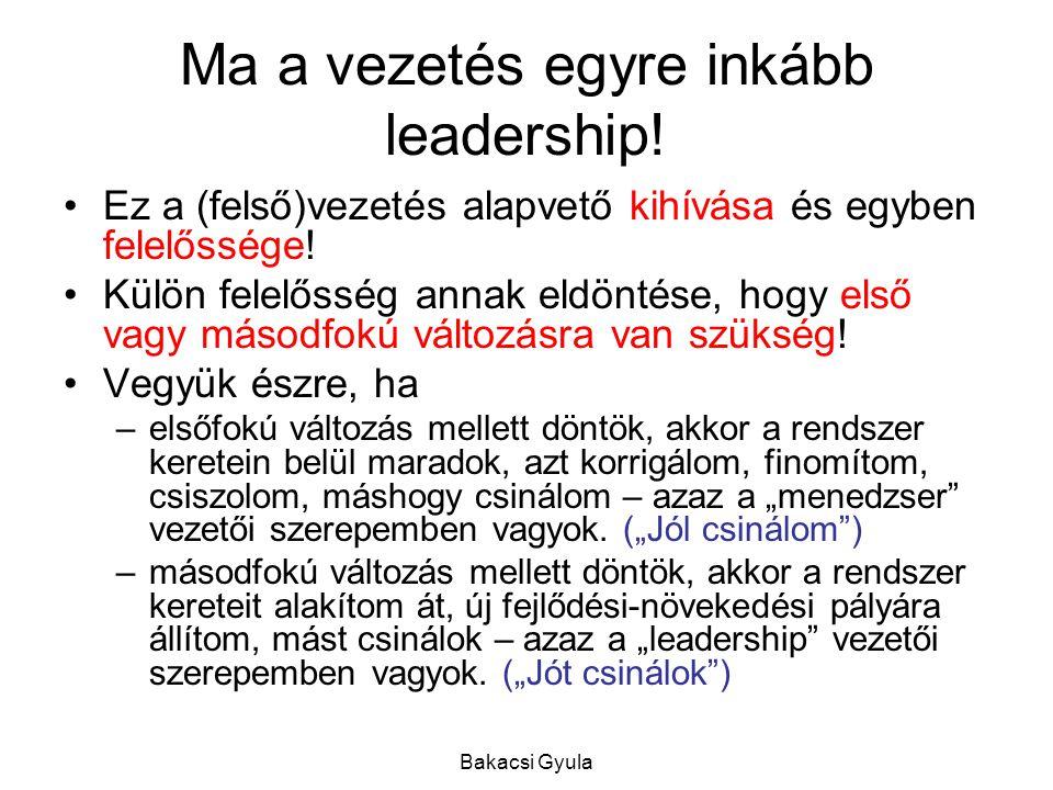 Ma a vezetés egyre inkább leadership!