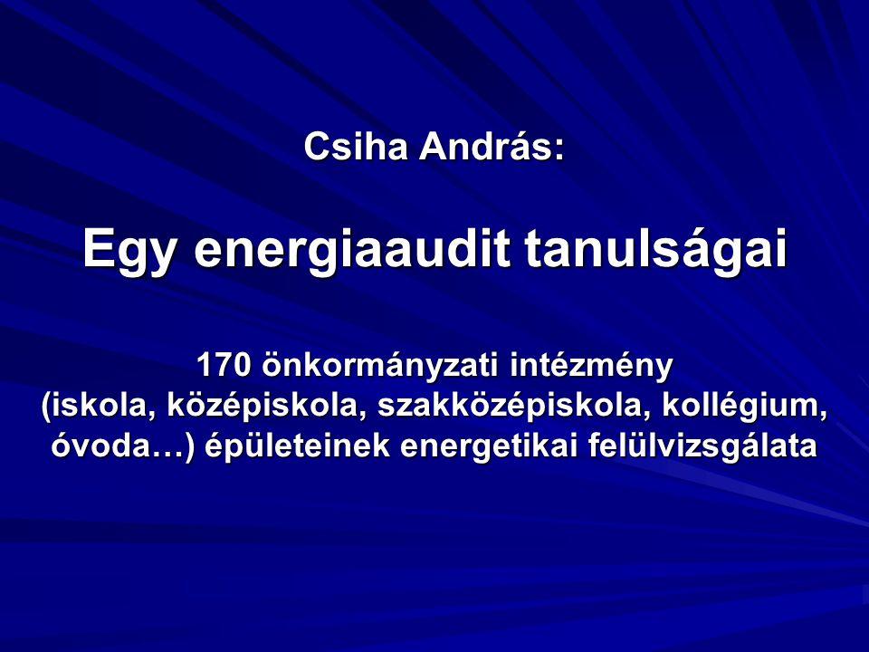 Csiha András: Egy energiaaudit tanulságai 170 önkormányzati intézmény (iskola, középiskola, szakközépiskola, kollégium, óvoda…) épületeinek energetikai felülvizsgálata