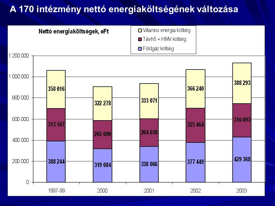 A 170 intézmény nettó energiaköltségének változása