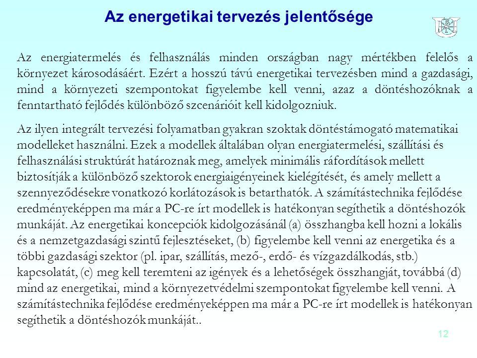 Az energetikai tervezés jelentősége
