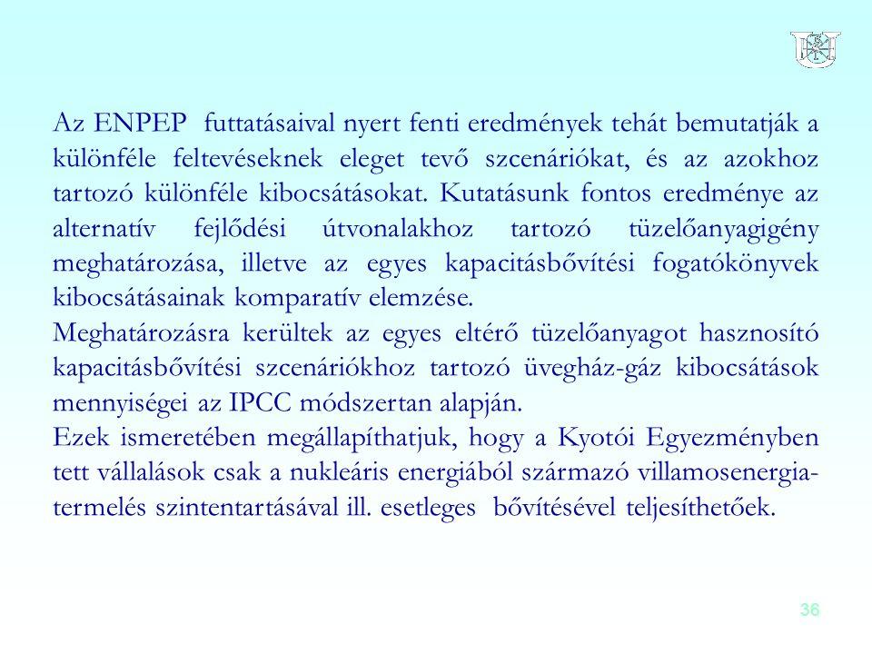 Az ENPEP futtatásaival nyert fenti eredmények tehát bemutatják a különféle feltevéseknek eleget tevő szcenáriókat, és az azokhoz tartozó különféle kibocsátásokat. Kutatásunk fontos eredménye az alternatív fejlődési útvonalakhoz tartozó tüzelőanyagigény meghatározása, illetve az egyes kapacitásbővítési fogatókönyvek kibocsátásainak komparatív elemzése.