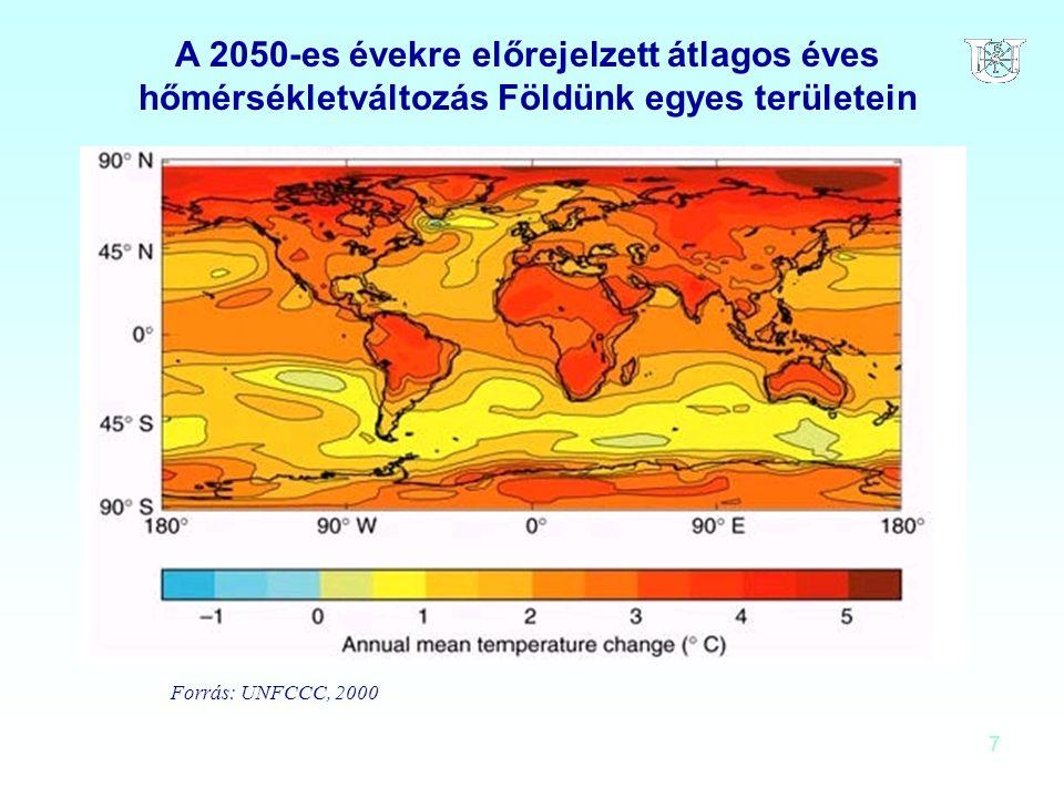 A 2050-es évekre előrejelzett átlagos éves hőmérsékletváltozás Földünk egyes területein