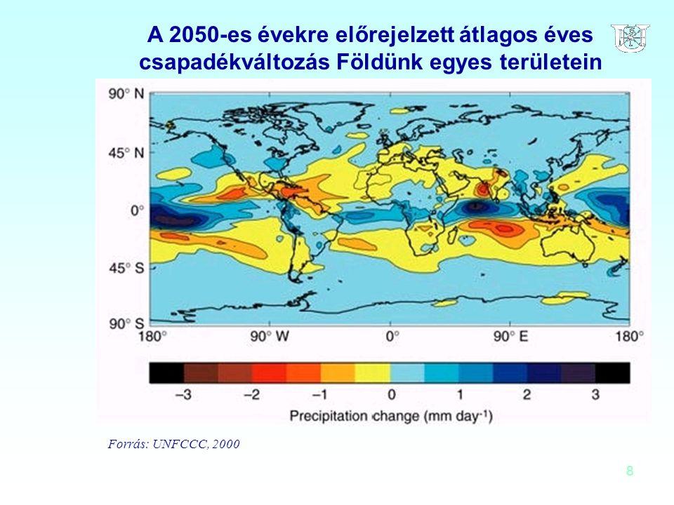 A 2050-es évekre előrejelzett átlagos éves csapadékváltozás Földünk egyes területein
