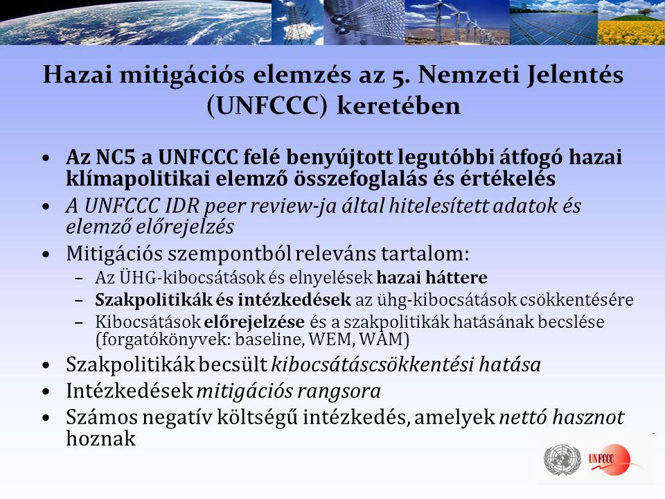 Hazai mitigációs elemzés az 5. Nemzeti Jelentés (UNFCCC) keretében