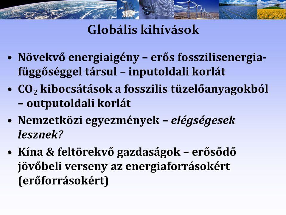Globális kihívások Növekvő energiaigény – erős fosszilisenergia-függőséggel társul – inputoldali korlát.