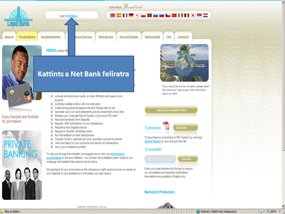 Kattints a Net Bank feliratra