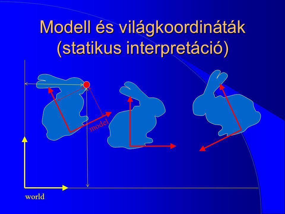 Modell és világkoordináták (statikus interpretáció)