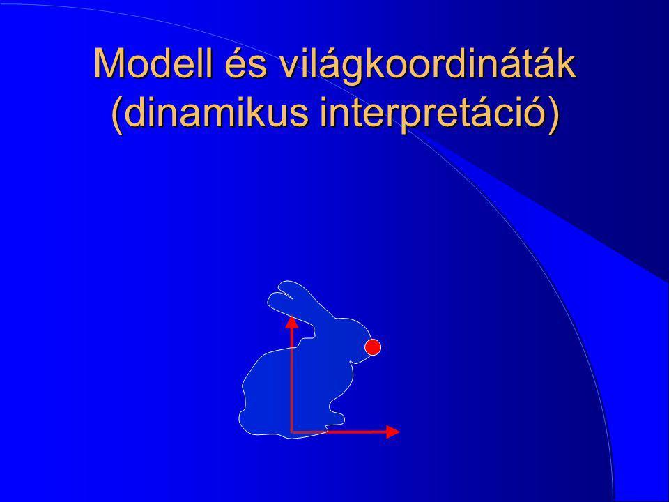 Modell és világkoordináták (dinamikus interpretáció)