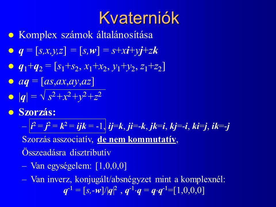 Kvaterniók Komplex számok általánosítása