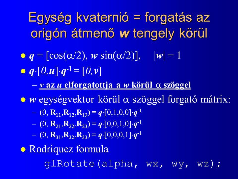 Egység kvaternió = forgatás az origón átmenő w tengely körül