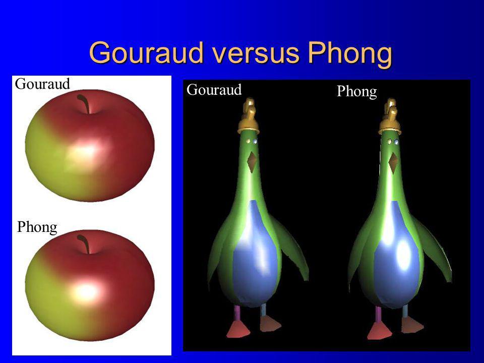 Gouraud versus Phong Gouraud Gouraud Phong Phong