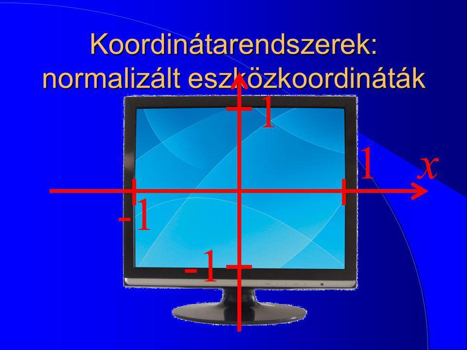 Koordinátarendszerek: normalizált eszközkoordináták