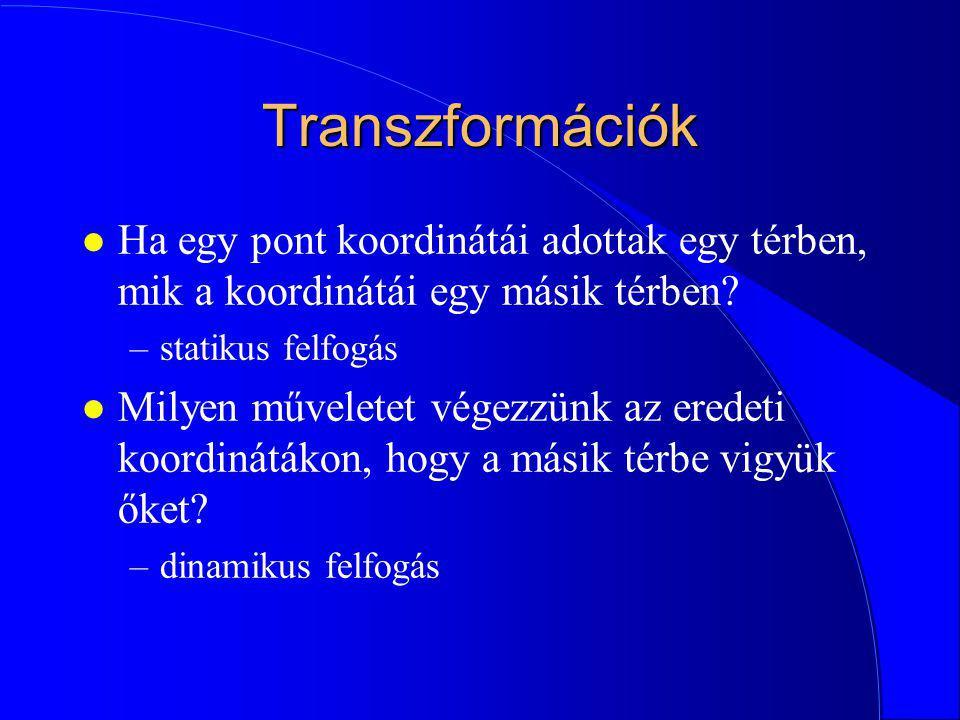 Transzformációk Ha egy pont koordinátái adottak egy térben, mik a koordinátái egy másik térben statikus felfogás.