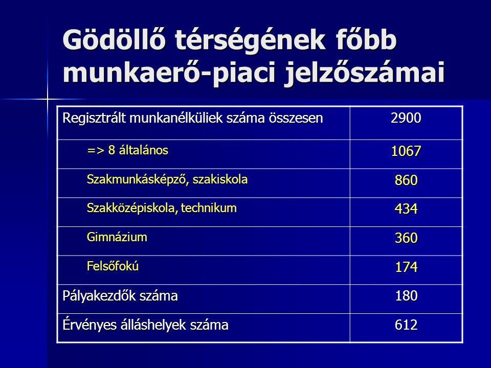 Gödöllő térségének főbb munkaerő-piaci jelzőszámai