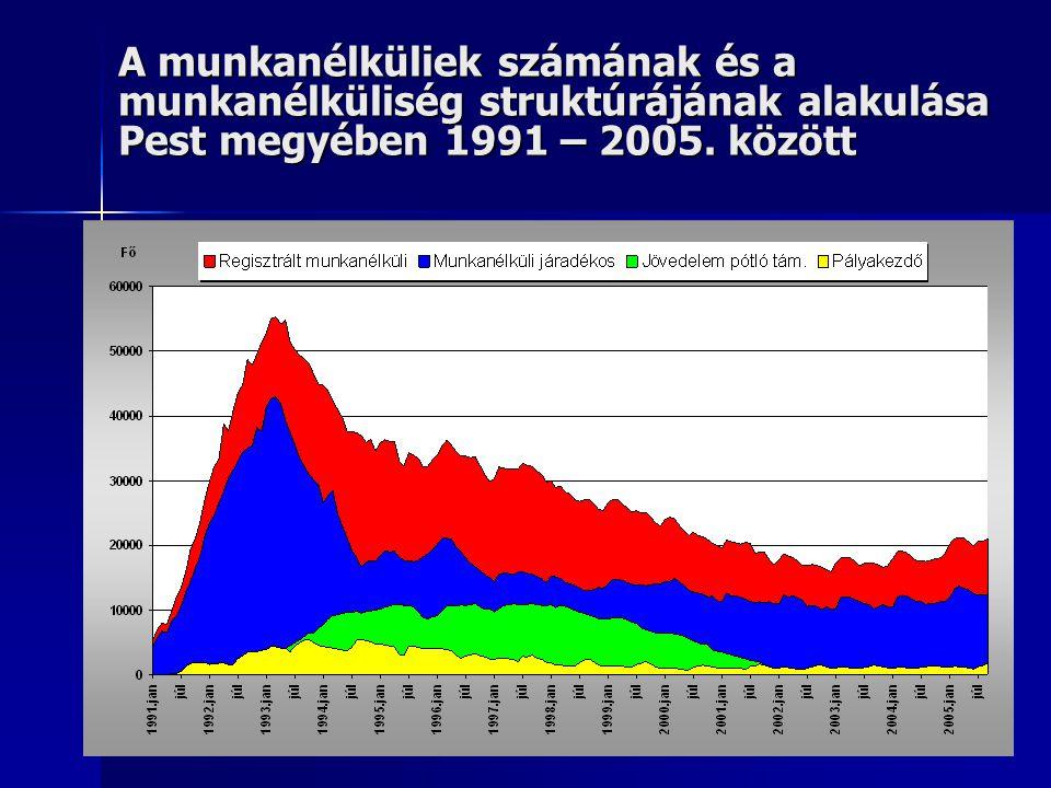 A munkanélküliek számának és a munkanélküliség struktúrájának alakulása Pest megyében 1991 – 2005.