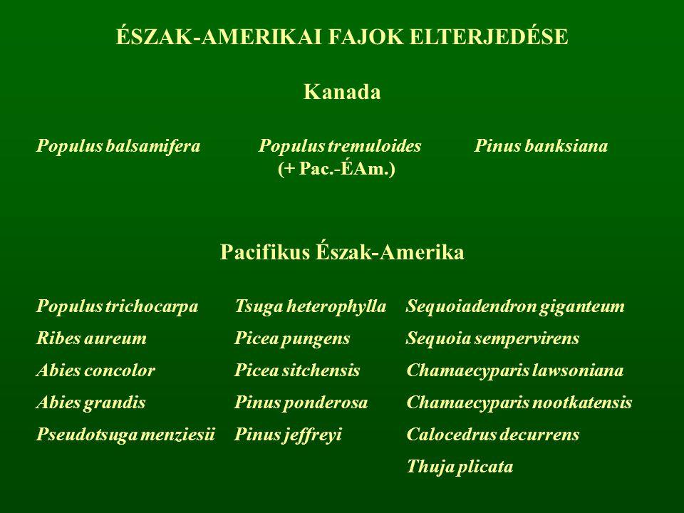 ÉSZAK-AMERIKAI FAJOK ELTERJEDÉSE Pacifikus Észak-Amerika