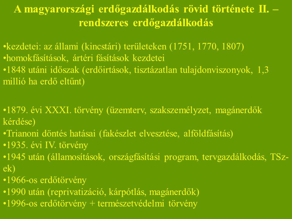 A magyarországi erdőgazdálkodás rövid története II