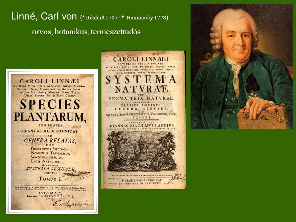 Linné, Carl von (* Råshult 1707 - † Hammarby 1778)