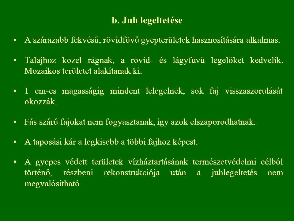 b. Juh legeltetése A szárazabb fekvésű, rövidfüvű gyepterületek hasznosítására alkalmas.