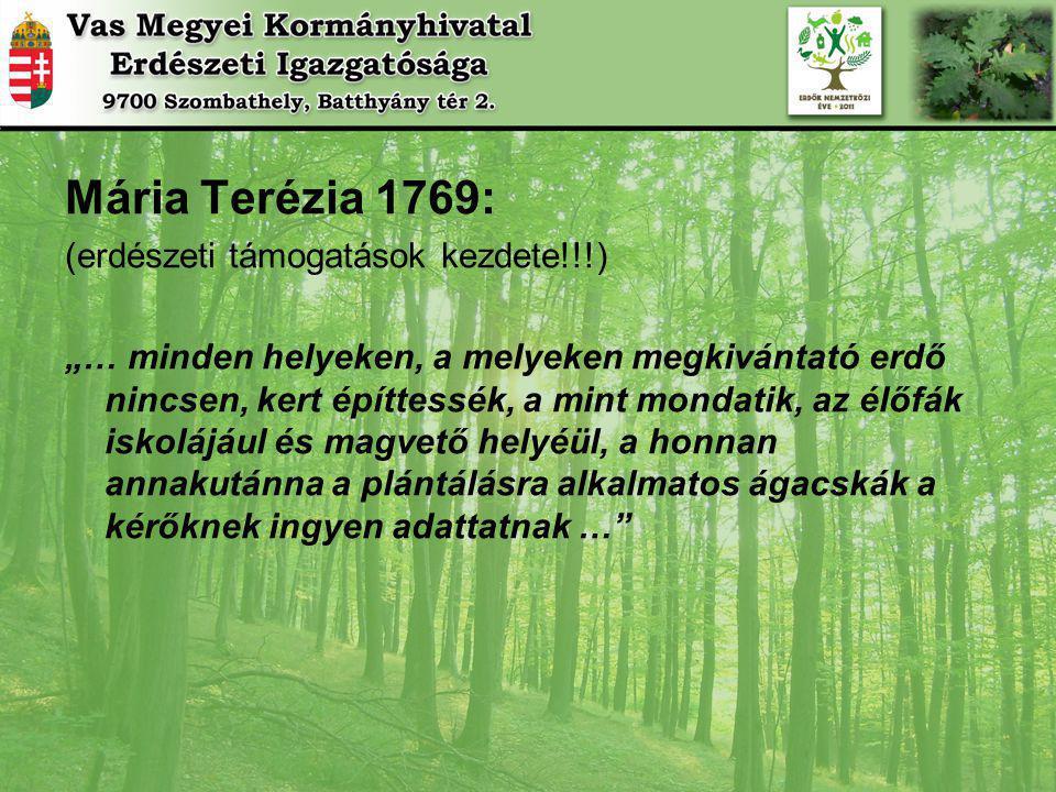 Mária Terézia 1769: (erdészeti támogatások kezdete!!!)