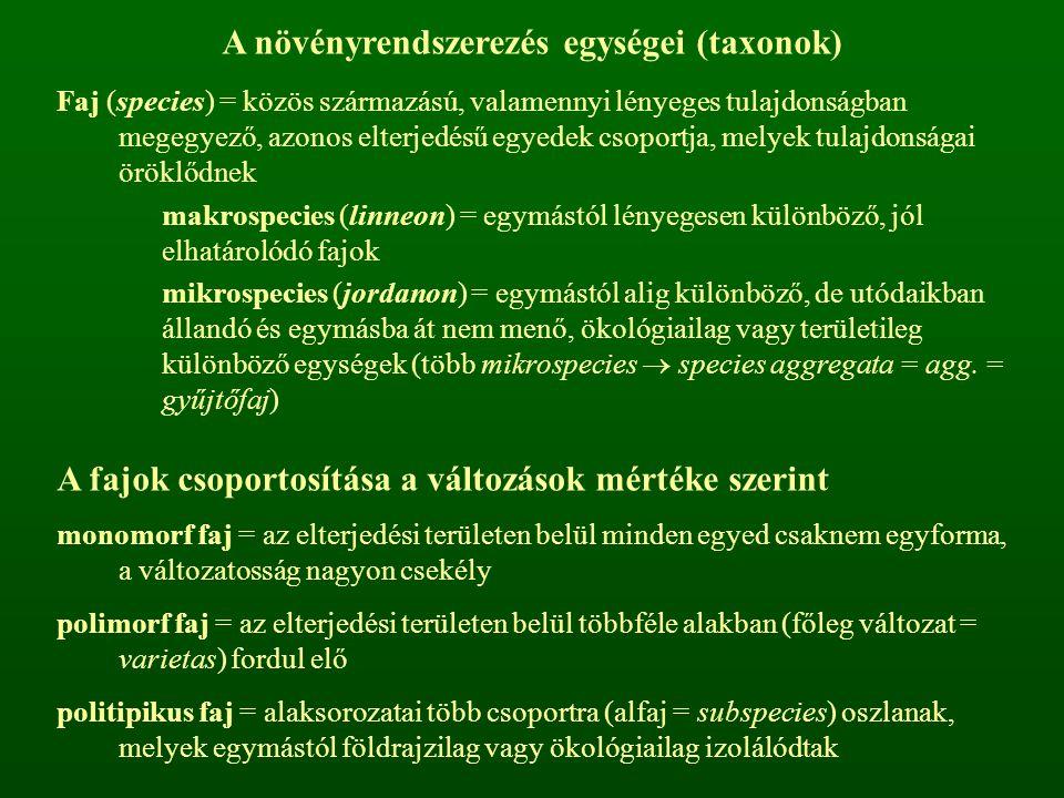 A növényrendszerezés egységei (taxonok)