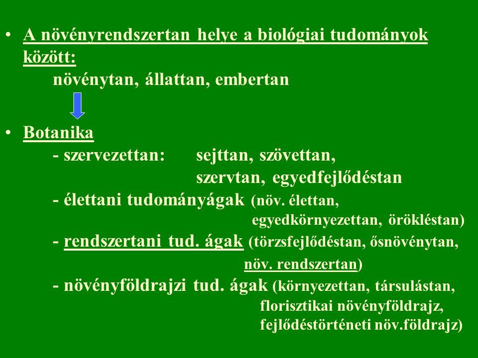 A növényrendszertan helye a biológiai tudományok között: