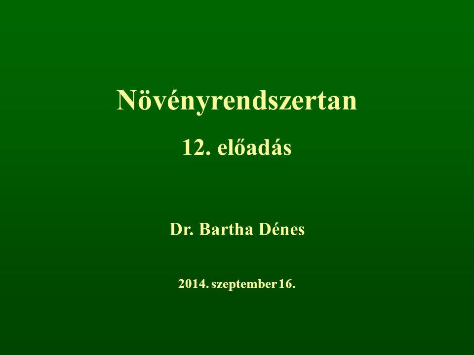 Növényrendszertan 12. előadás Dr. Bartha Dénes 2017. április 5.